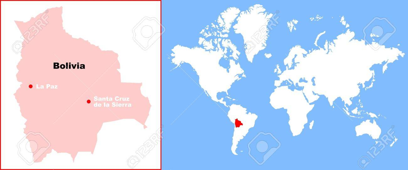 Bolivia In World Map Royalty Free Cliparts Vectors And Stock - Map of bolivia world