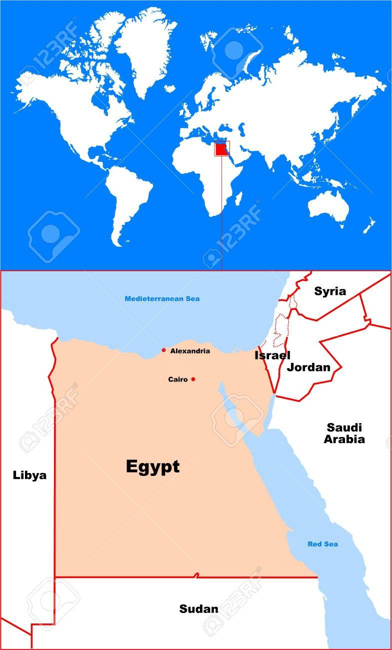 Egypt In Map Of World Royalty Free Cliparts Vectors And Stock Illustration Image 22735681