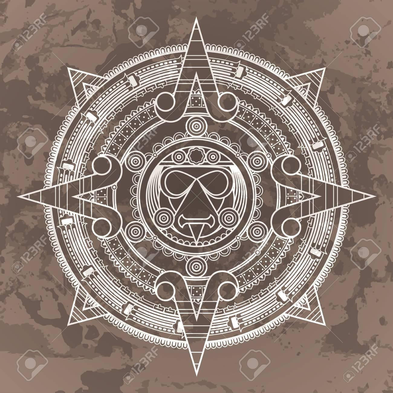 Calendario Azteca Vectores.Vector Patron Circular En El Estilo De La Piedra Del Calendario Azteca Sobre Un Fondo Grunged