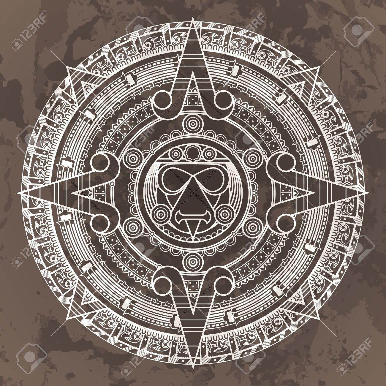 Calendario Azteca.Vector Patron Circular En El Estilo De La Piedra Del Calendario Azteca Sobre Un Fondo Grunged