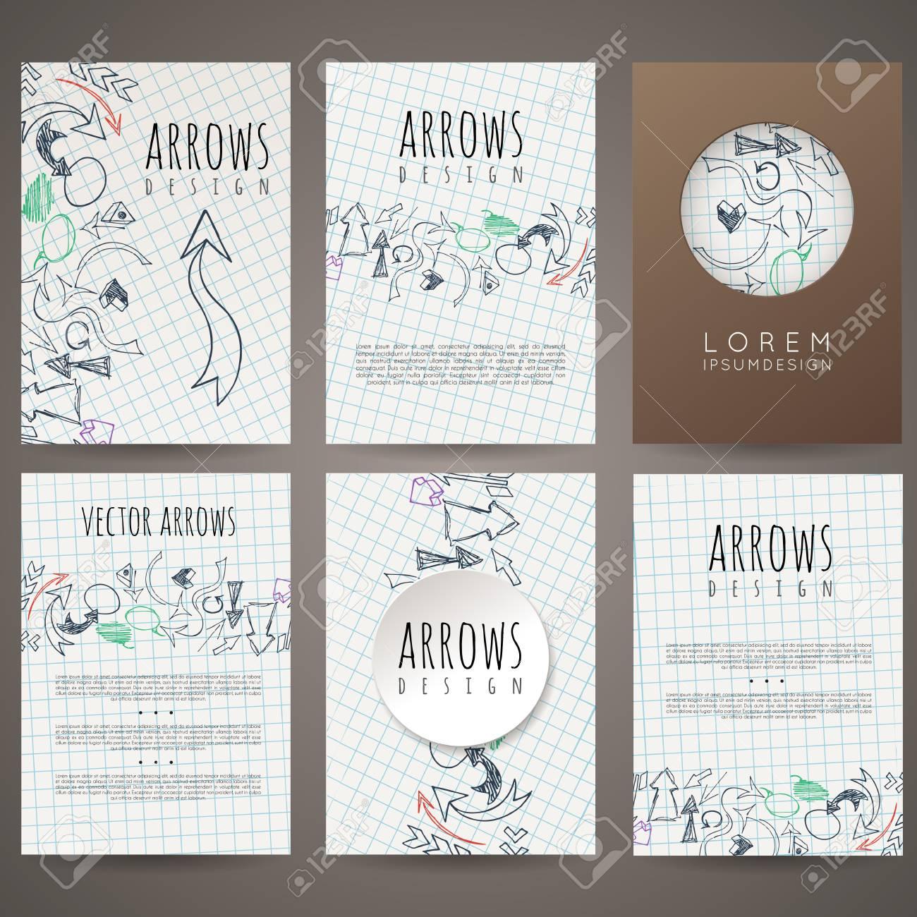 Set Of Six Vector Designs Of Hand-drawn Arrow. Cover Design ...