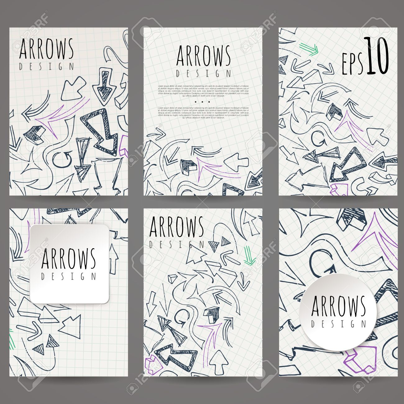 Set Of Six Vector Designs Of Hand-drawn Arrow. Cover Design ...