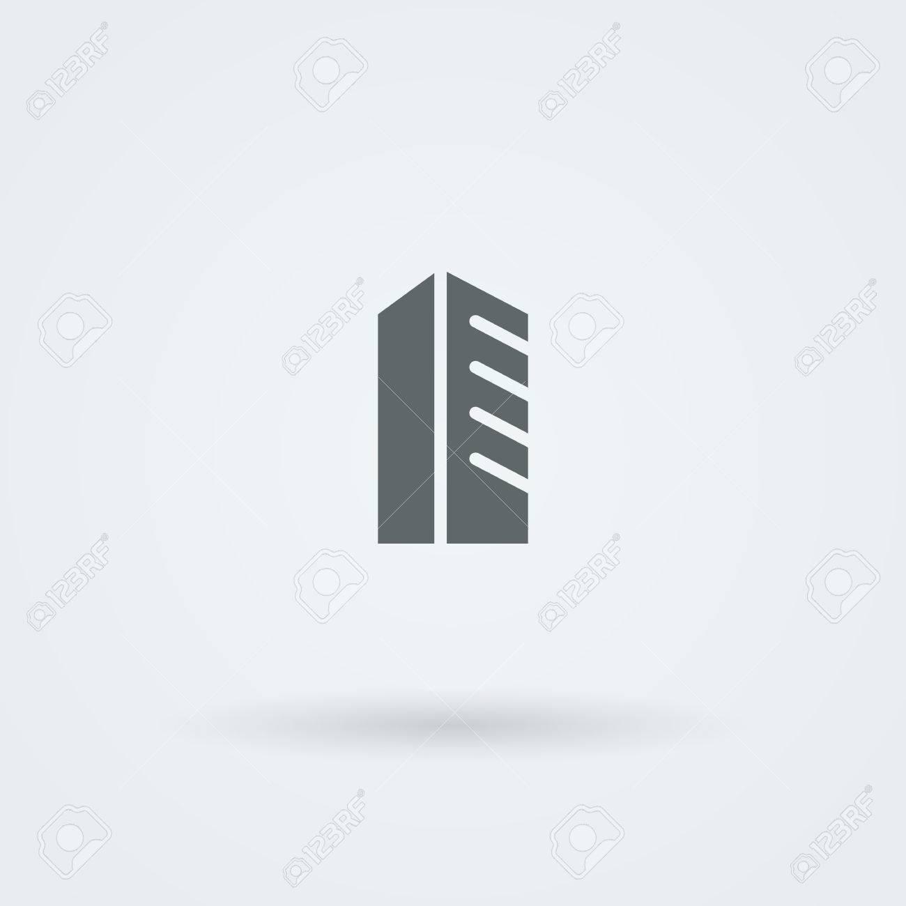 Schematisch, Minimalistisches Symbol Wolkenkratzer, Hochhaus ...