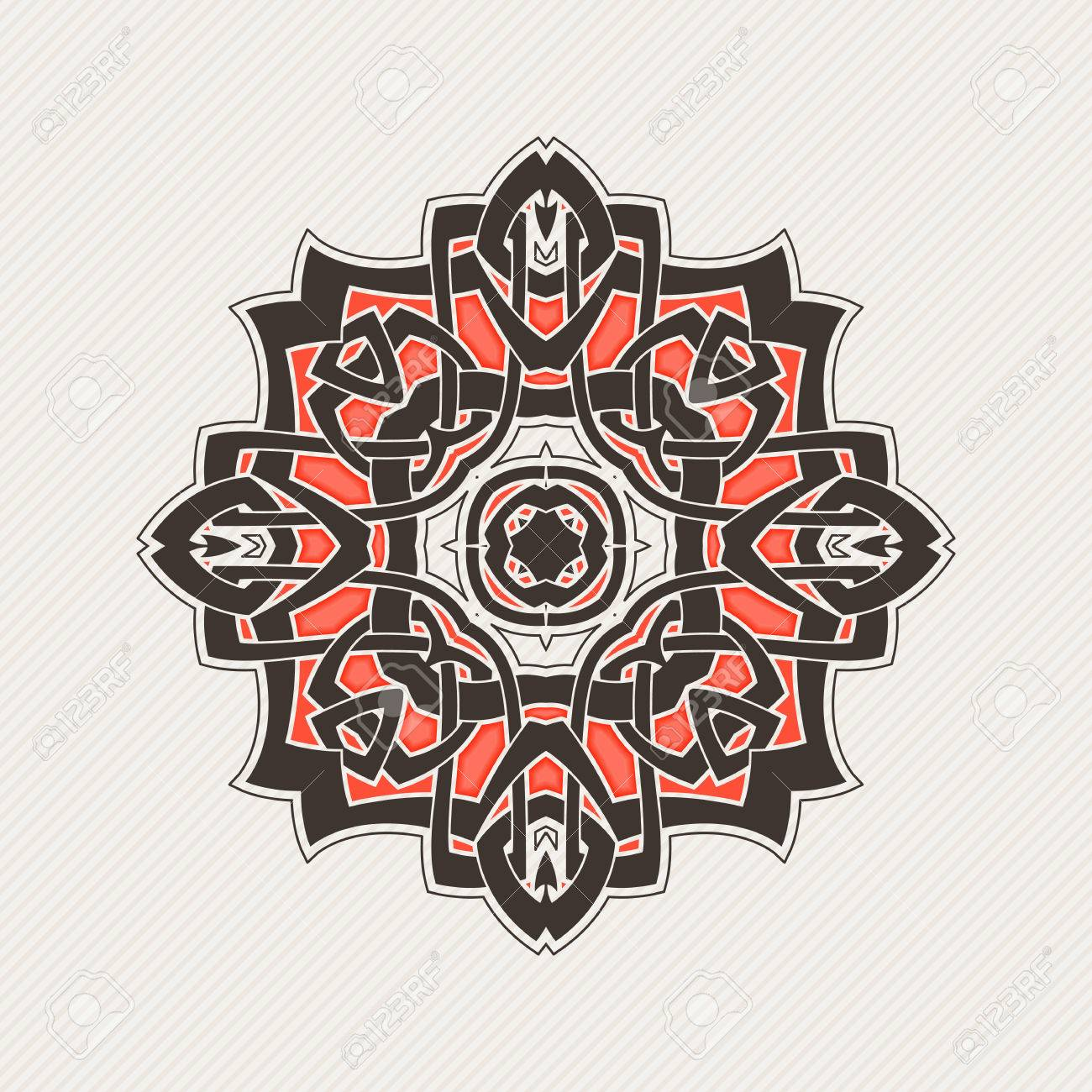 Vector Mandala. Gothic Lace Tattoo. Celtic Weave With Sharp Corners. The  Circular Pattern