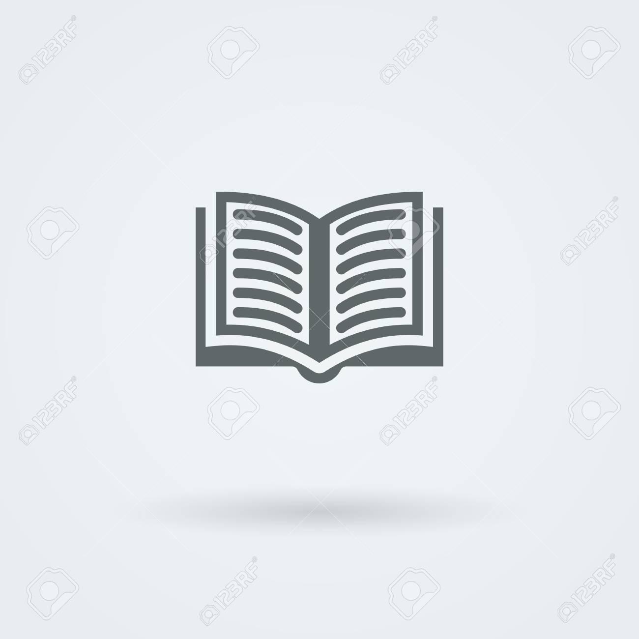 Simple Vector Open Book Icon Logo Pictogram Button