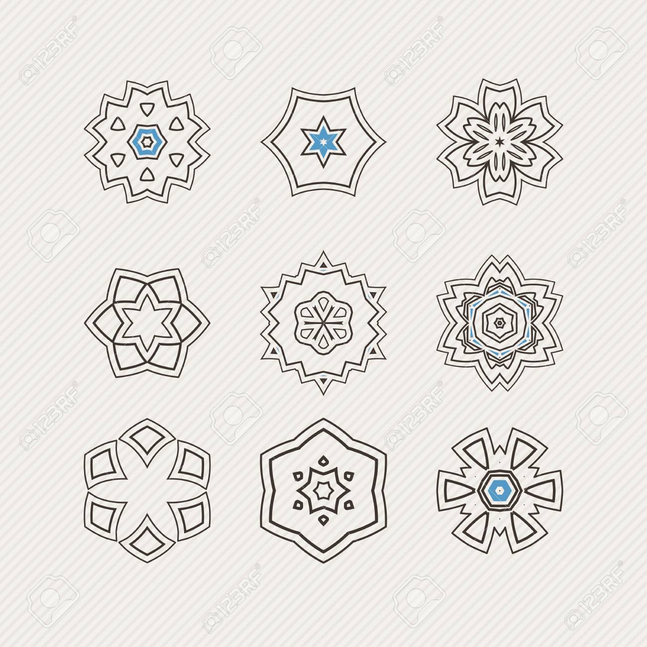 Conjunto De Símbolos De Mandala Vector Ornamentado. Tatuaje De ...