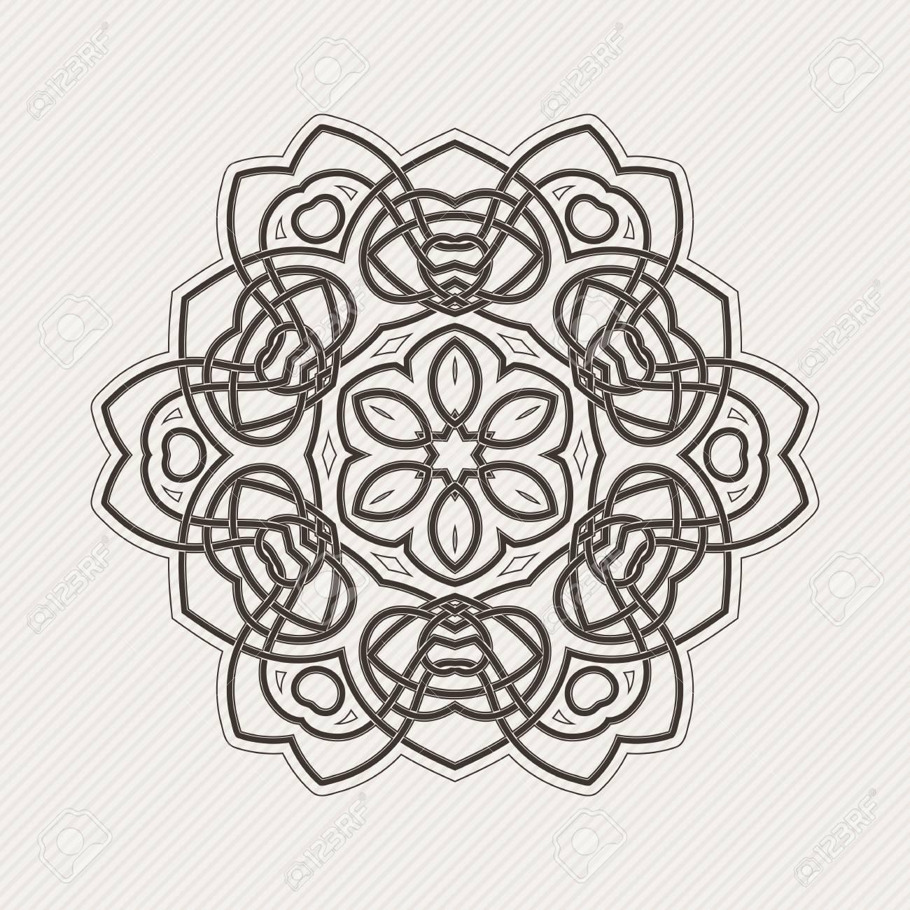 Vector Mandala. Tatuaje De Encaje Gótico. Tejido Celta Con Esquinas ...