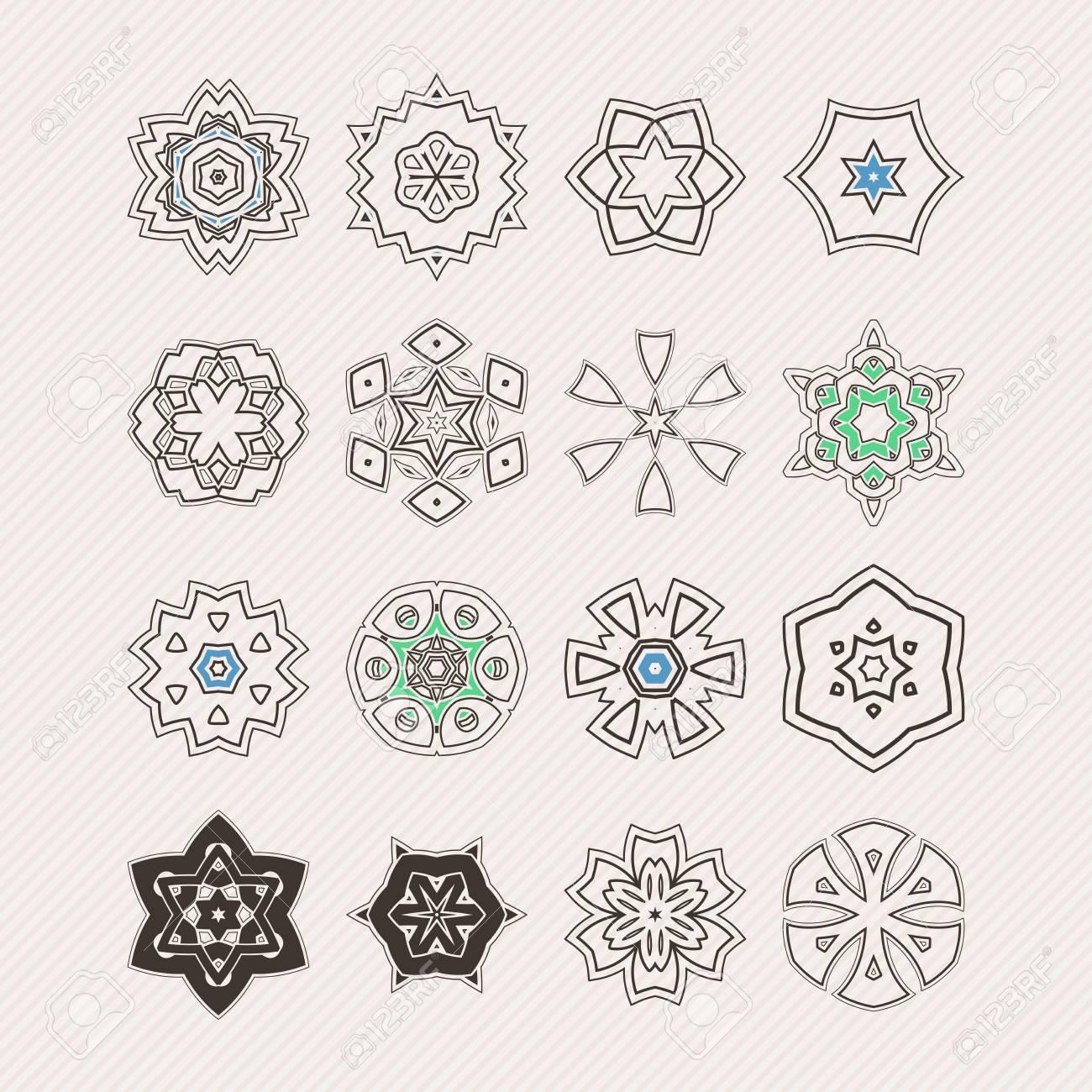 Conjunto De Símbolos De Mandala Ornamentado. Tatuaje De Encaje ...