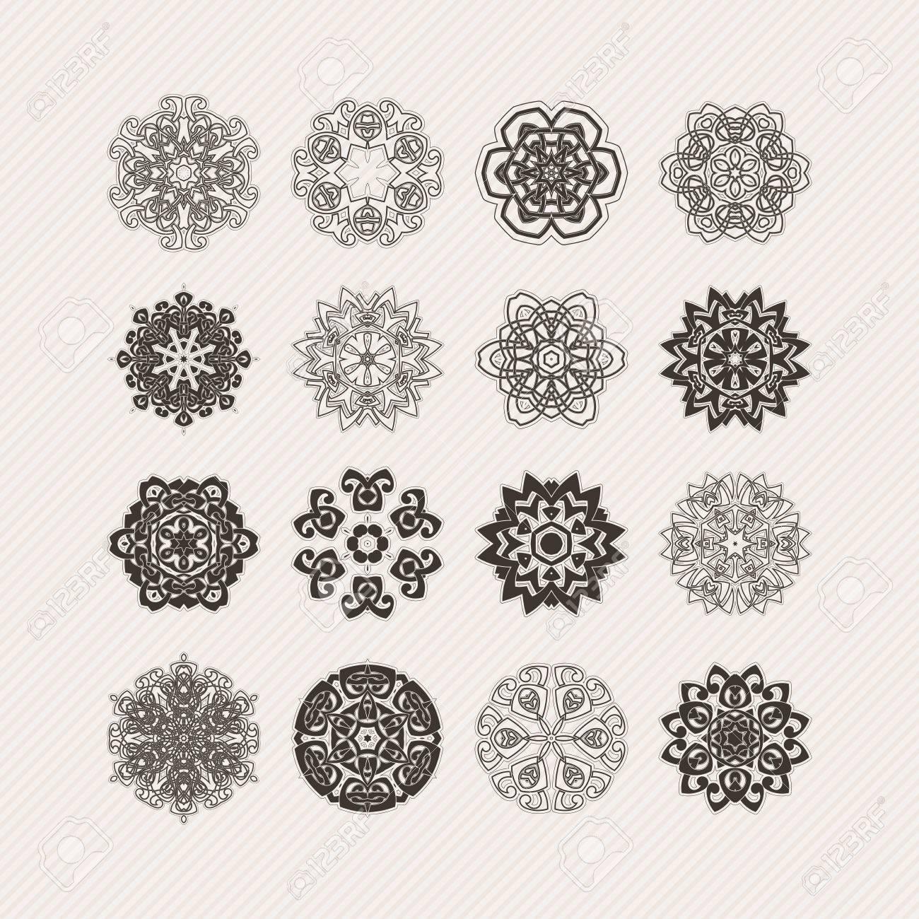 Set Of Ornate Mandala Symbols. Gothic Lace Tattoo. Celtic Weave With Sharp  Corners.