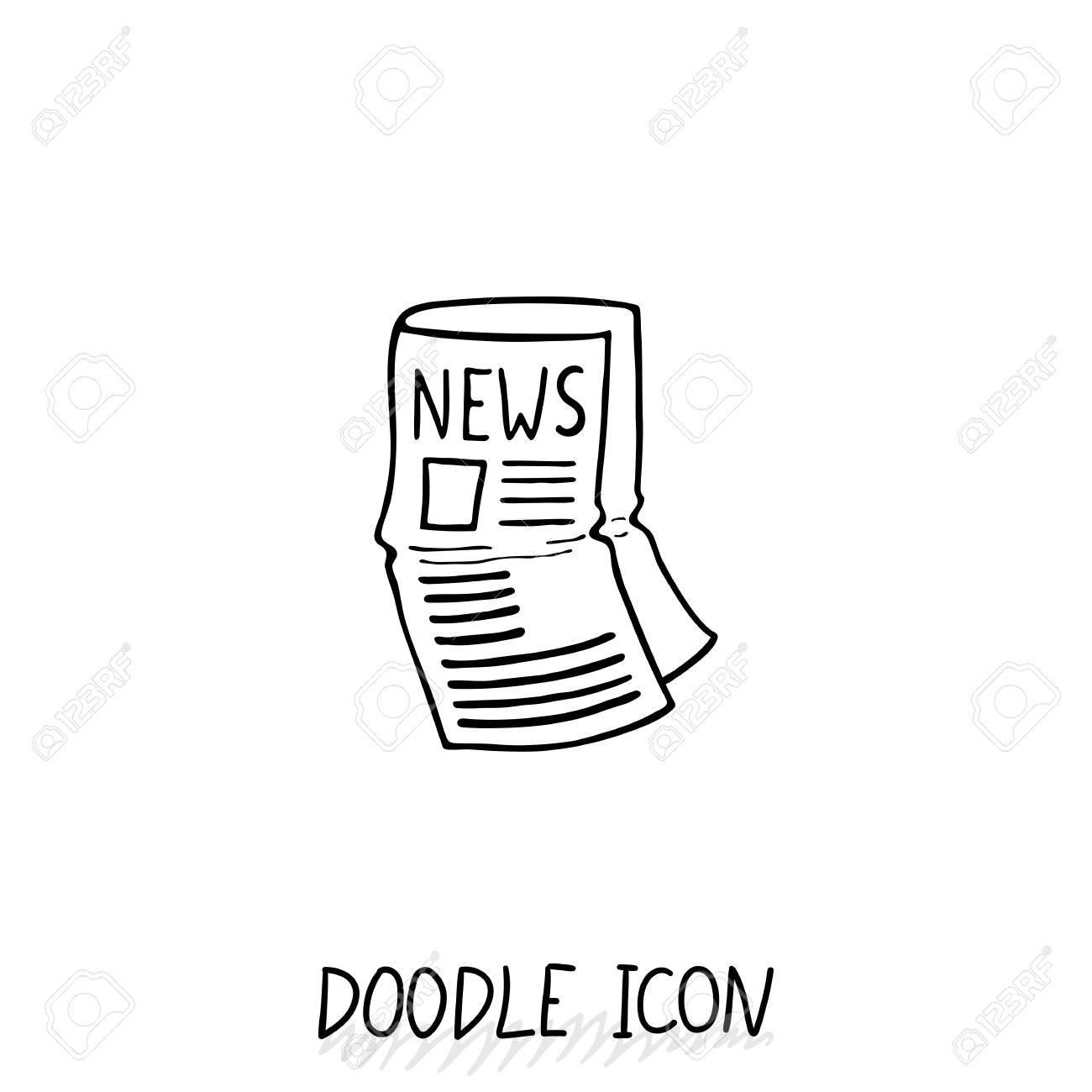 Doodle Nouvelles Icône Symbole De Journaux Imprimer La Feuille