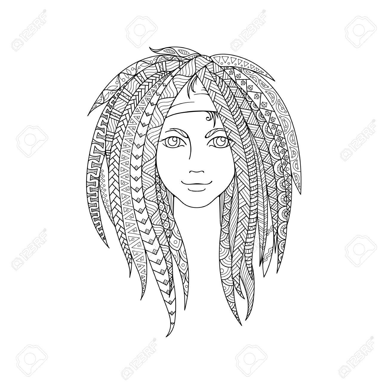 Young Girl With Patterned Zentangle Dreadlocks. Ornate Hairstyle ...