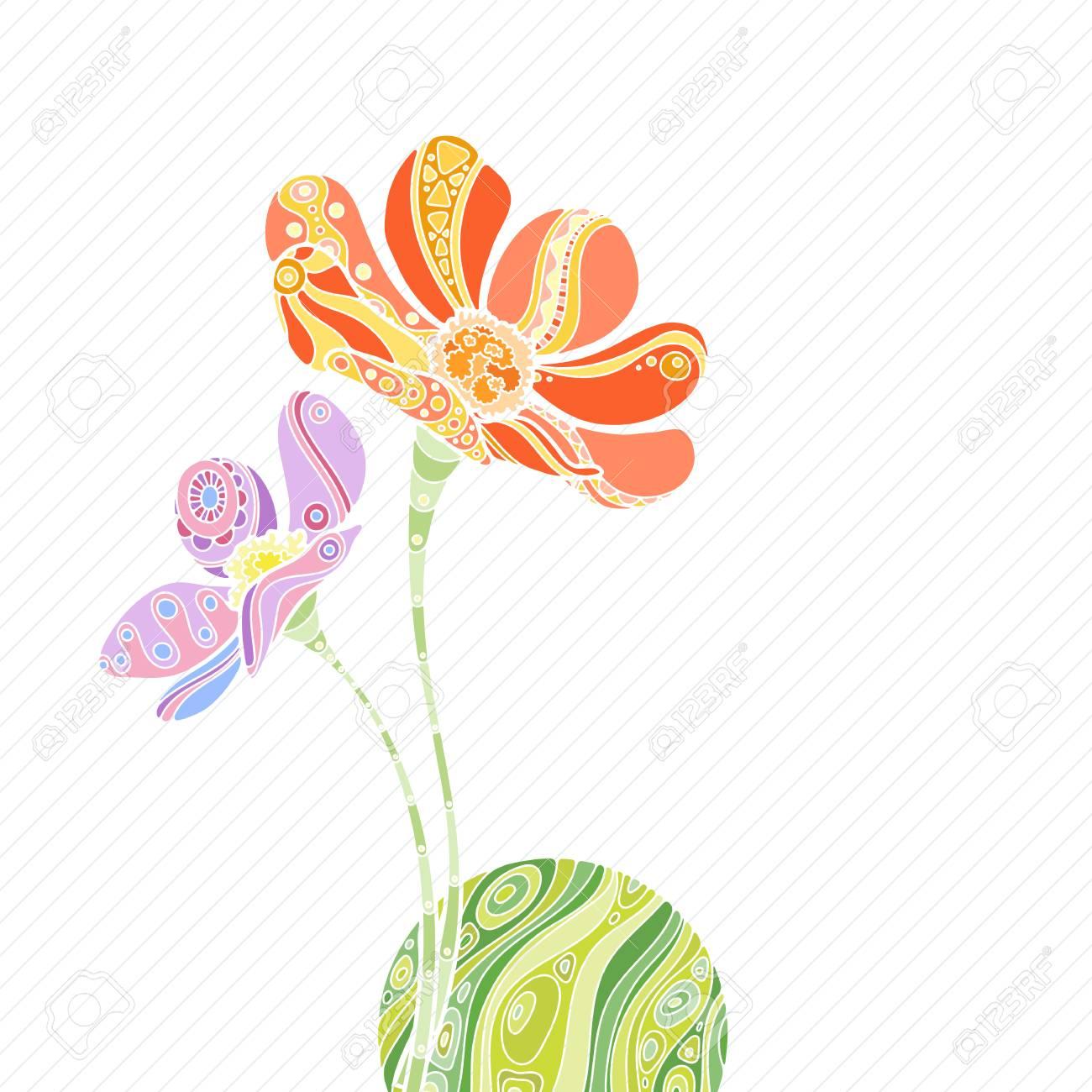 Ilustracion Del Vector De Flores Zentangle Con Bola De La Onda