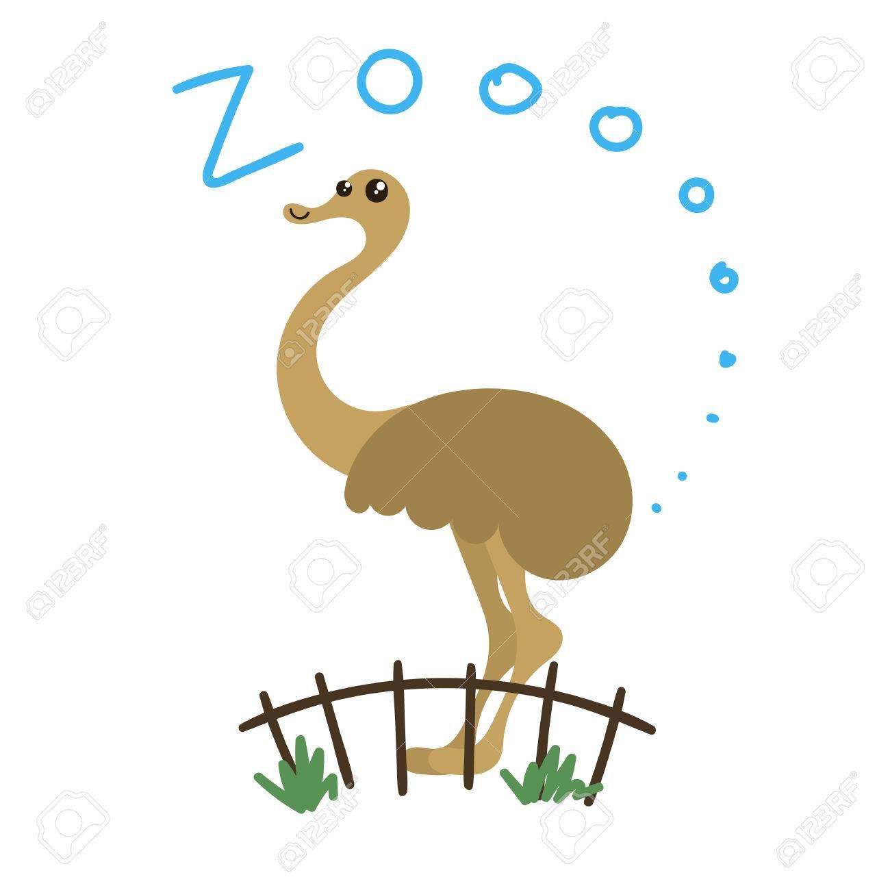 かわいいベクター動物園の動物。かわいい目とスタイル。落書きイラスト