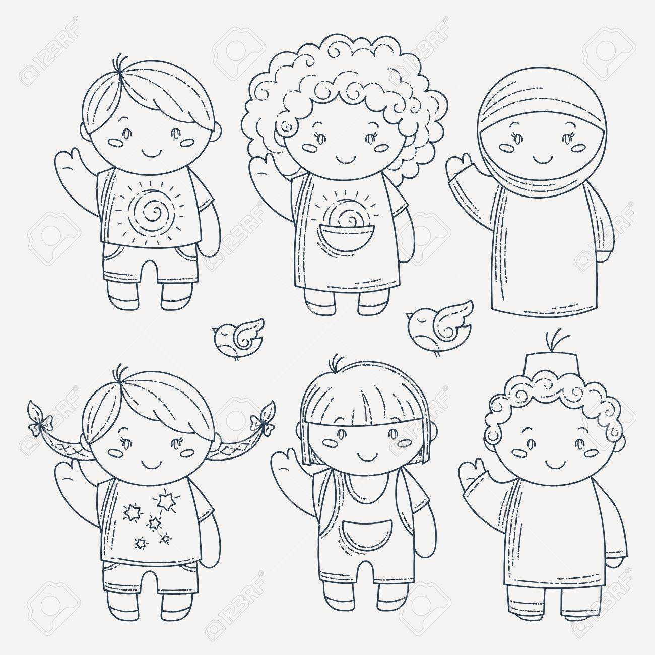 Conjunto De Niños Lindos Del Doodle. Guardería, Campamento, Personas ...
