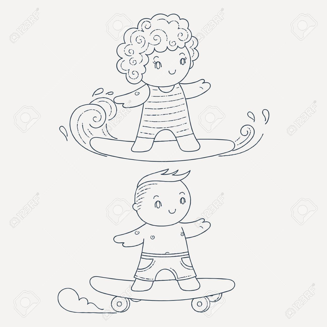 Illustration Of A Kids On A Surfboard And Skateboard. Kawaii ...