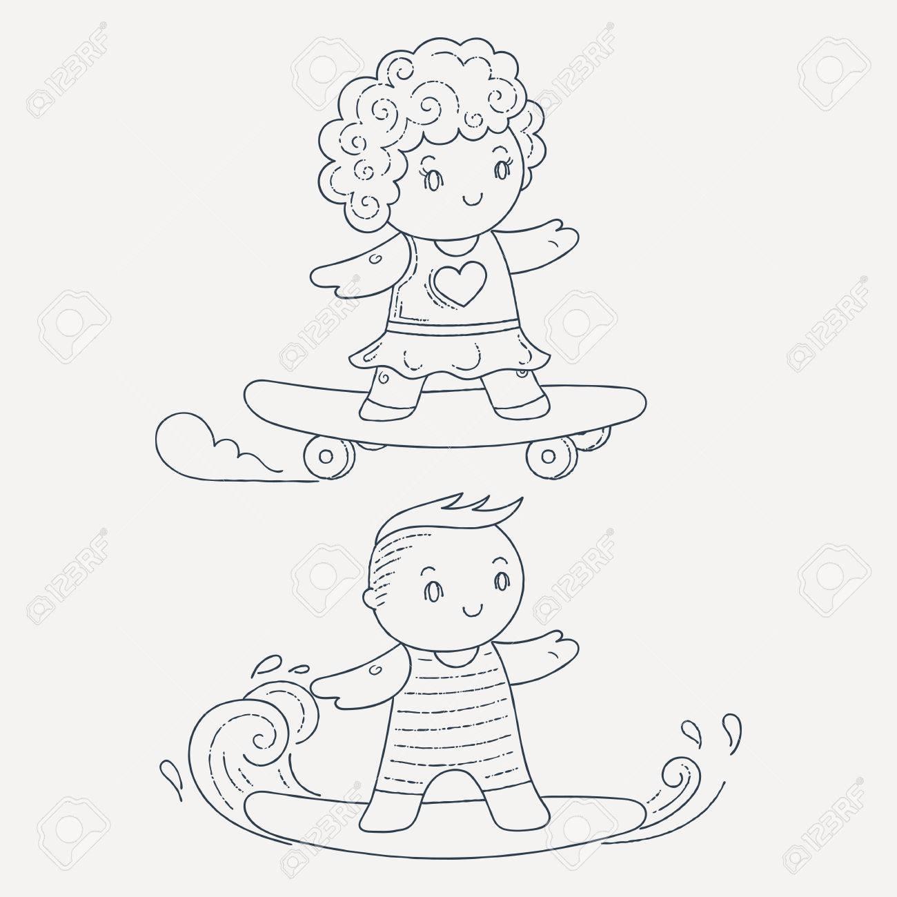 Ilustración De Una Niños En Una Tabla De Surf Y El Monopatín Conjunto De Kawaii Niños Dibujo Para Colorear