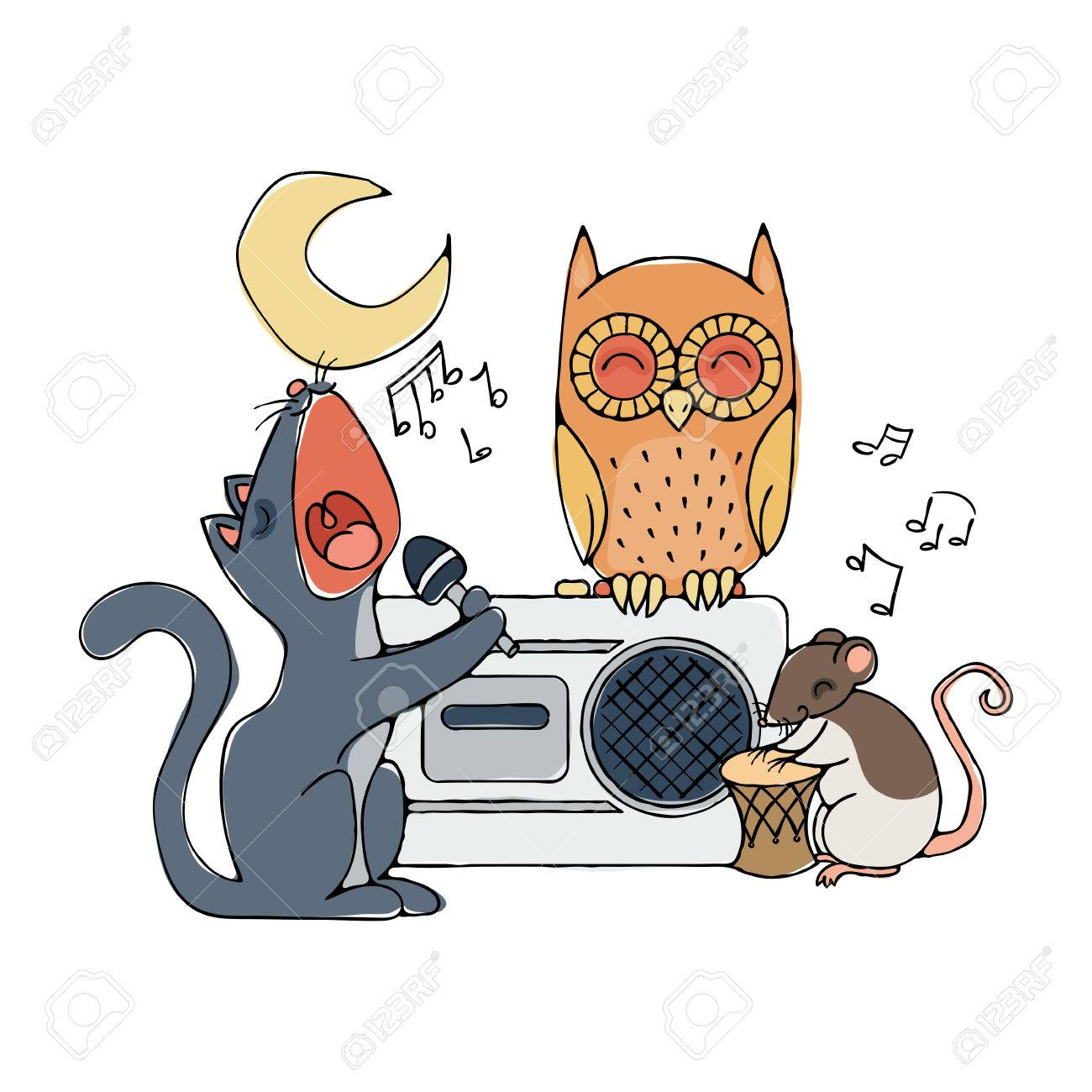 動物の音楽隊、猫、ラット、フクロウ。カラオケのイラスト
