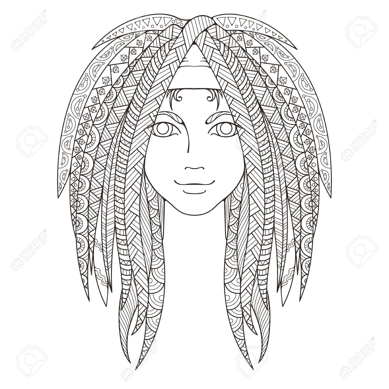 Young Girl With Patterned Zentangle Dreadlocks. Page For Coloring ...