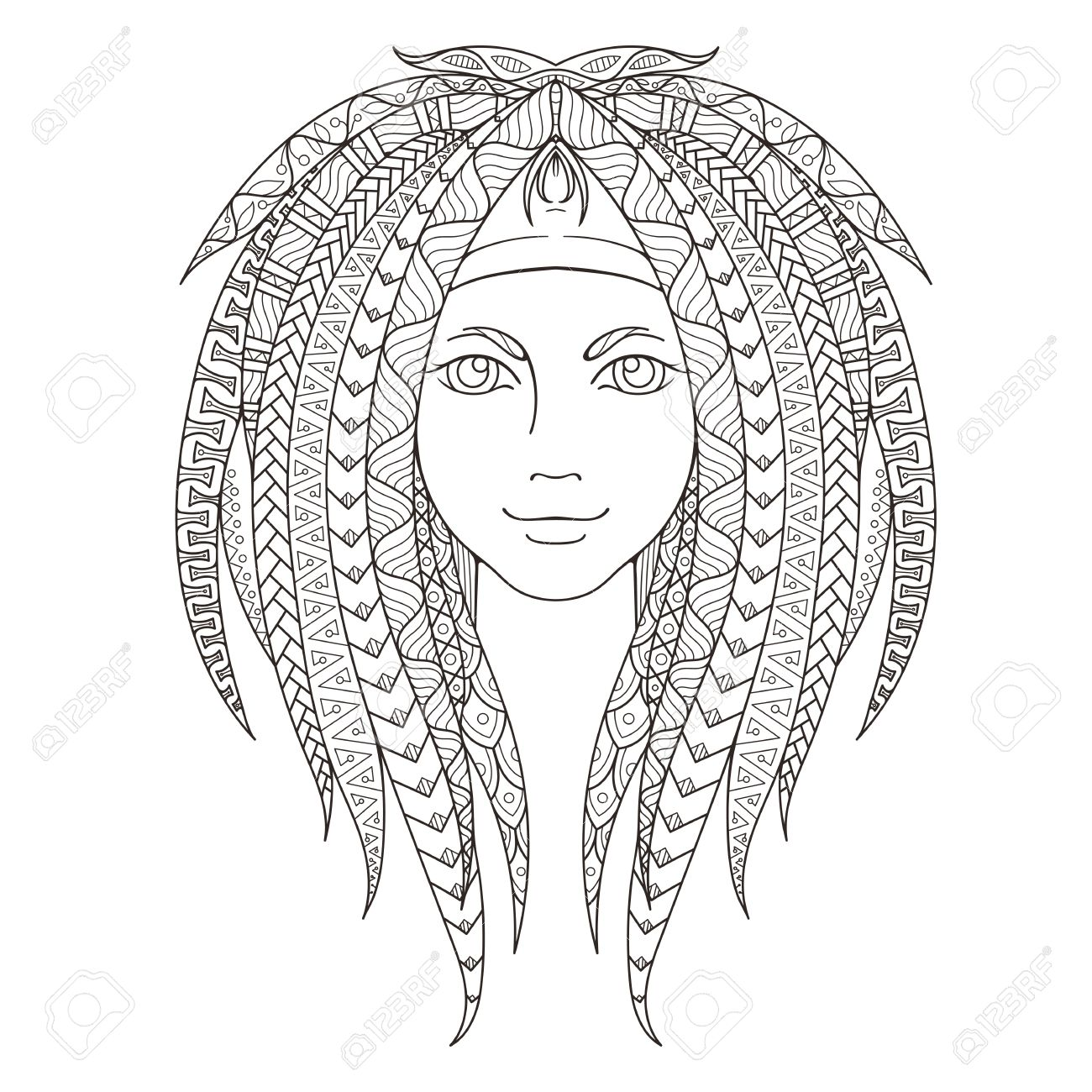 Young Girl With Patterned Dreadlocks. Page For Coloring. Ornate ...
