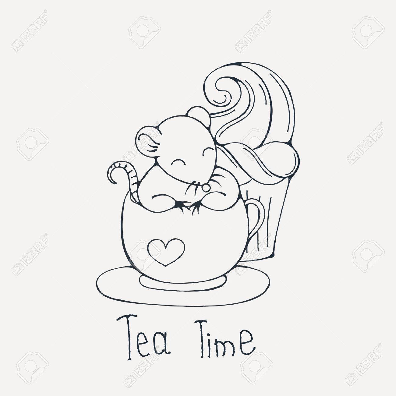 Ilustración Con Linda Rata En Una Taza De Té O Café Con Pastelitos ...