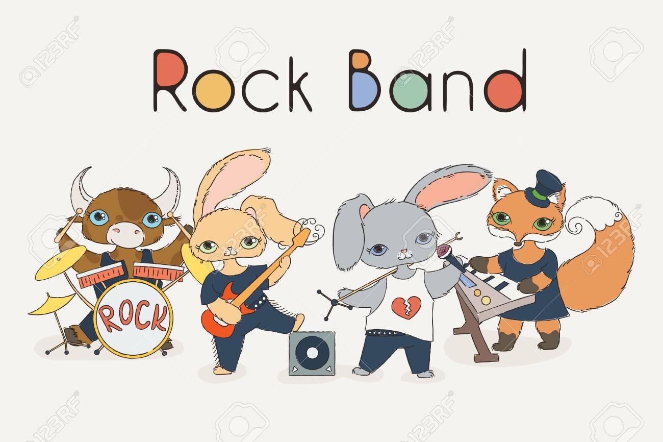ファンキーな動物のロックバンド。かわいい子供音楽のイラスト。ベクター