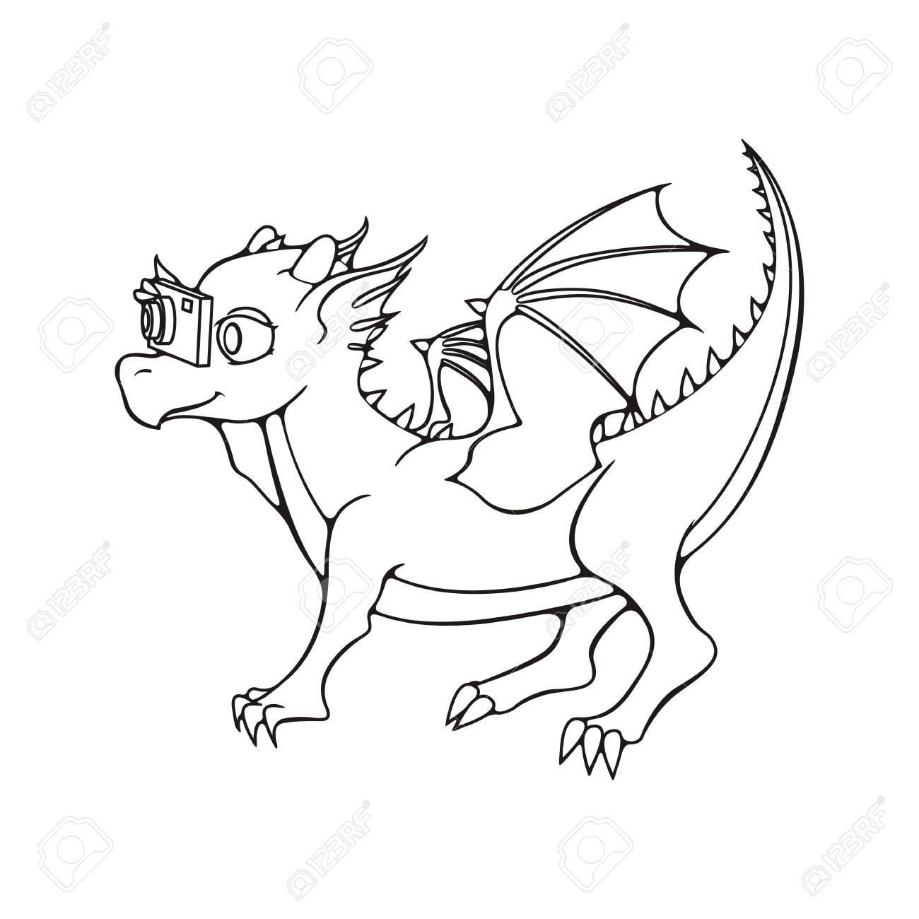 Carte De Voeux Avec Enfant Dragon Avec Photocamera Illustration De