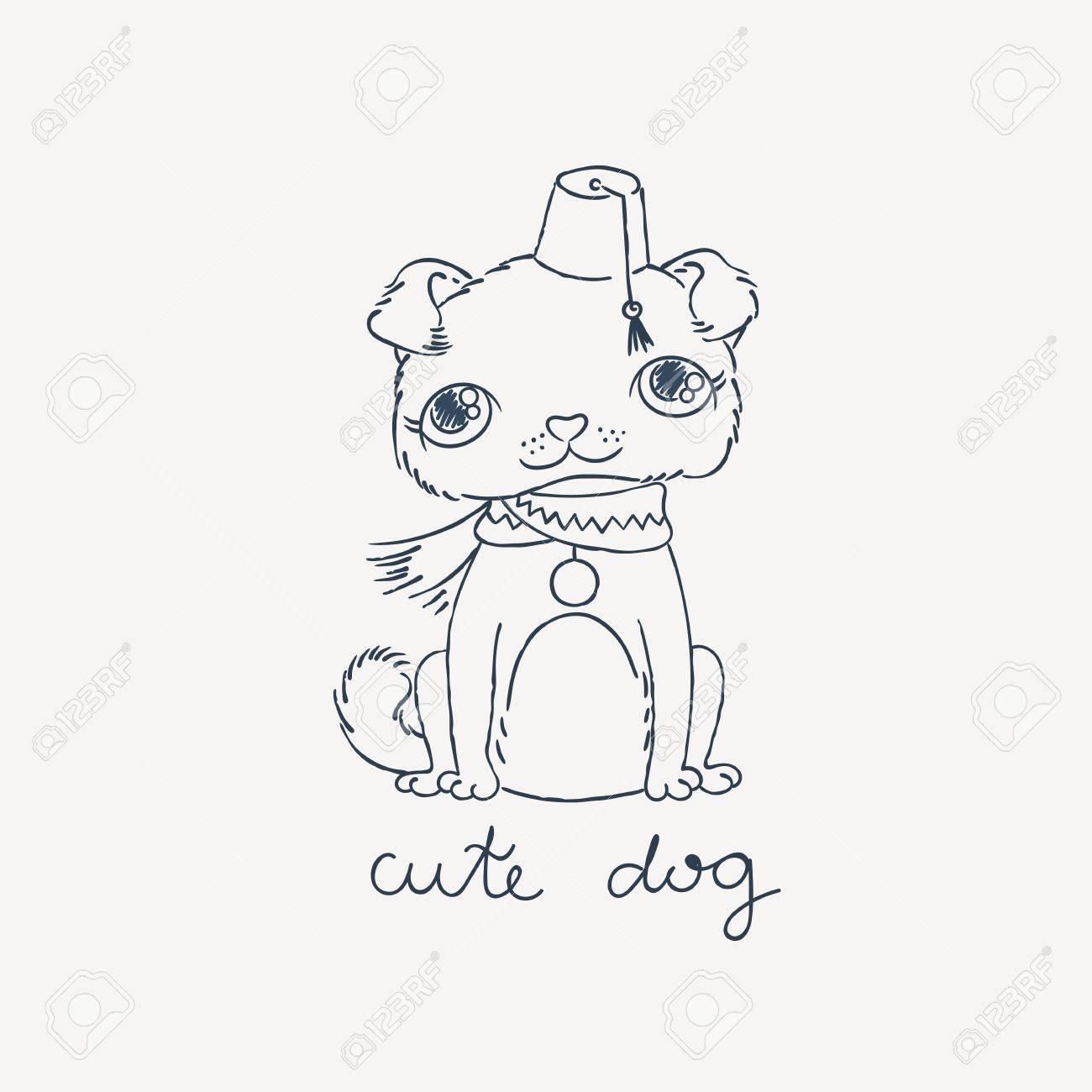 Pug Cachorro En Una Fes Con Una Borla. Vector Ilustración De Dibujo ...