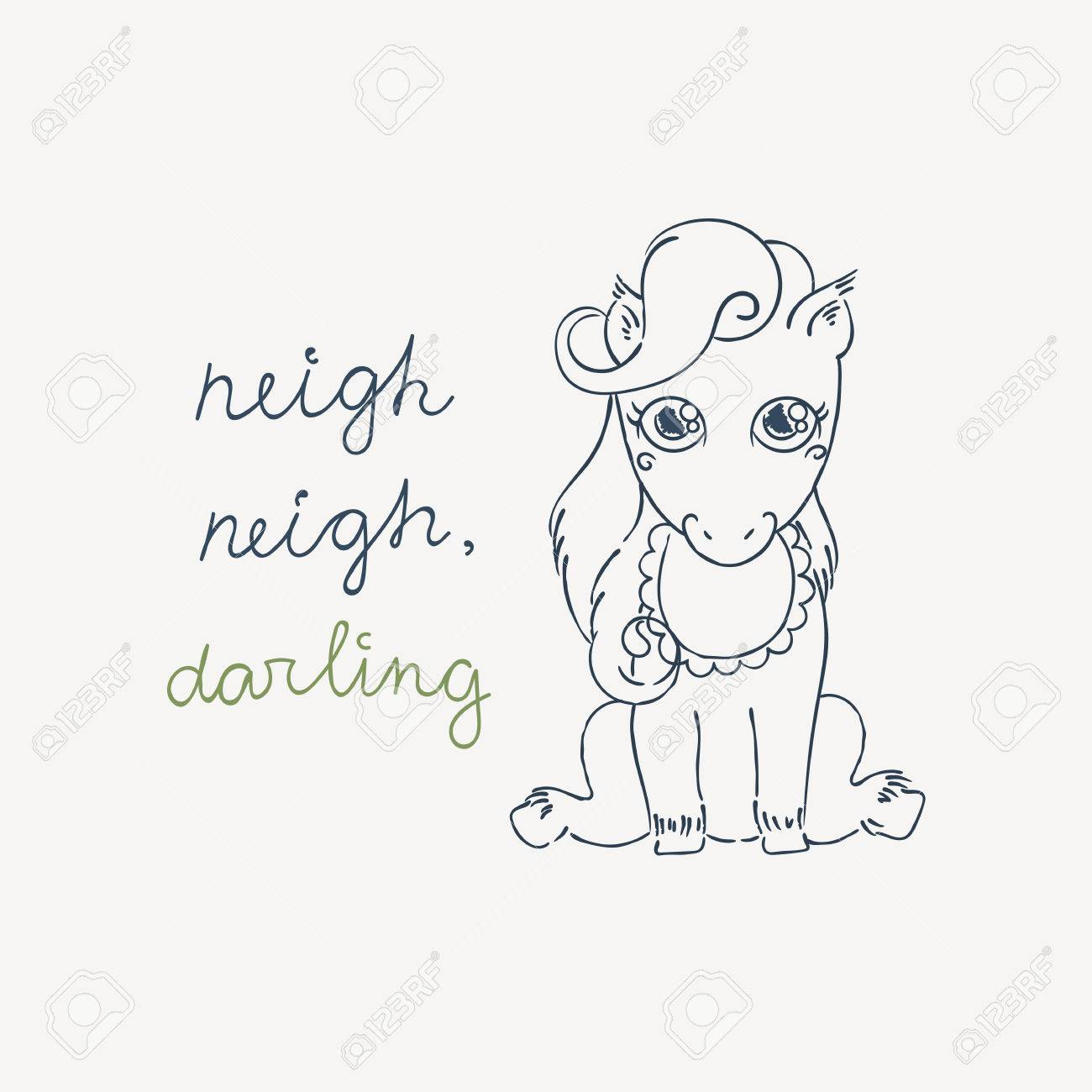 Little Cute Pony In A Bib Baby Horse In A Doodle Style Coloring Royalty Free Cliparts Vectors And Stock Illustration Image 68323950