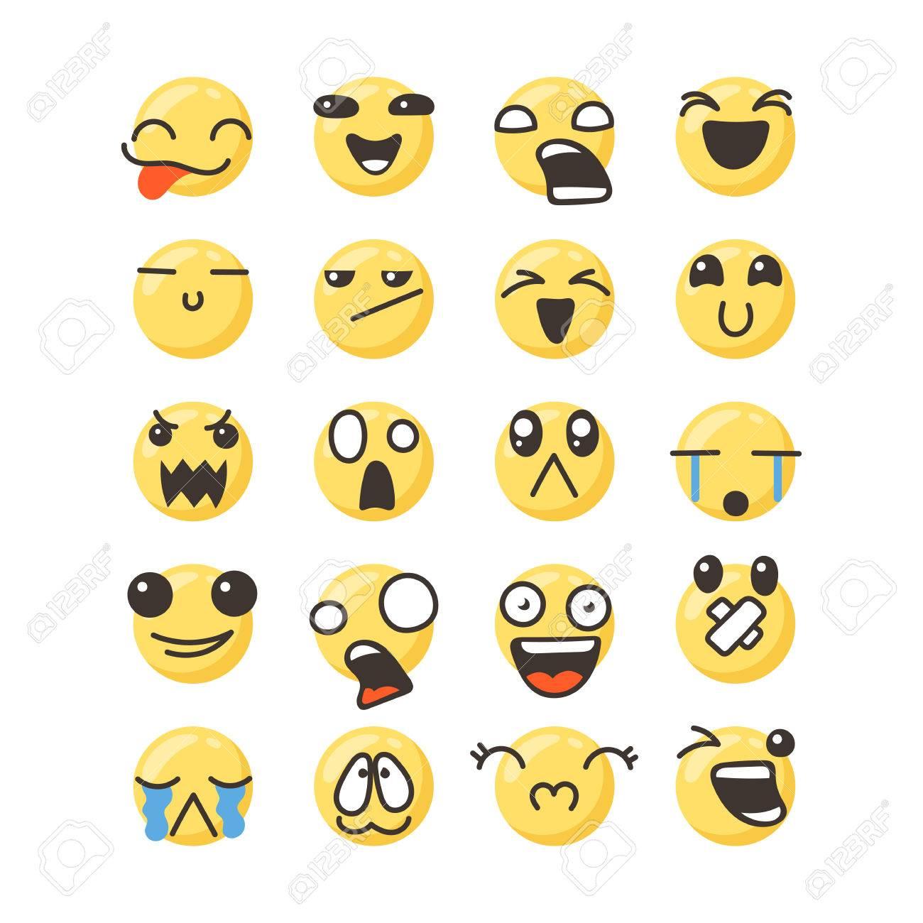 Set Of Cute Lovely Kawaii Emoticon Doodle Cartoon Face In Childlike