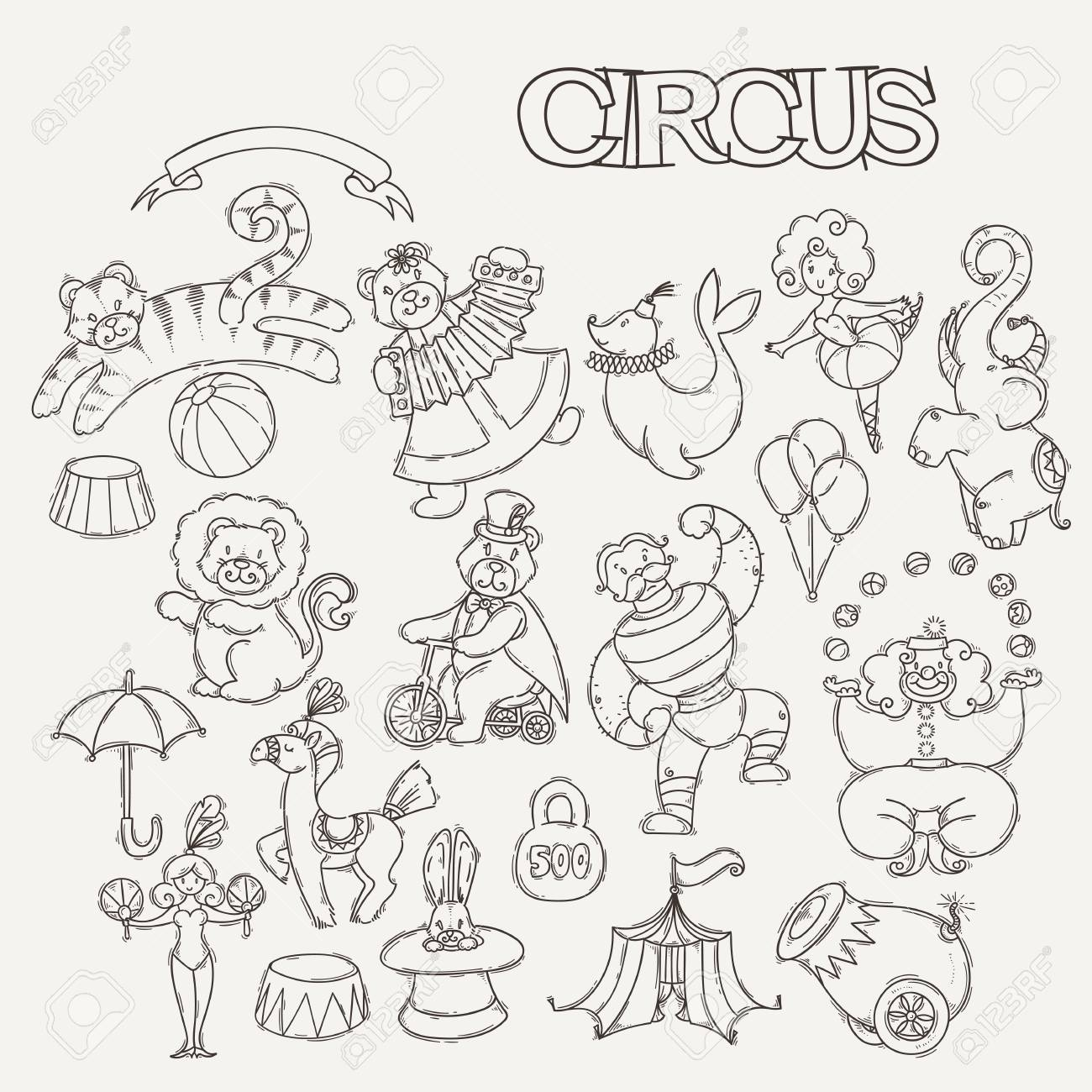 Circus cartoon icons collection with chapiteau tent and trained wild animals. Vector doodle coloring set  sc 1 st  123RF & Circus Cartoon Icons Collection With Chapiteau Tent And Trained ...
