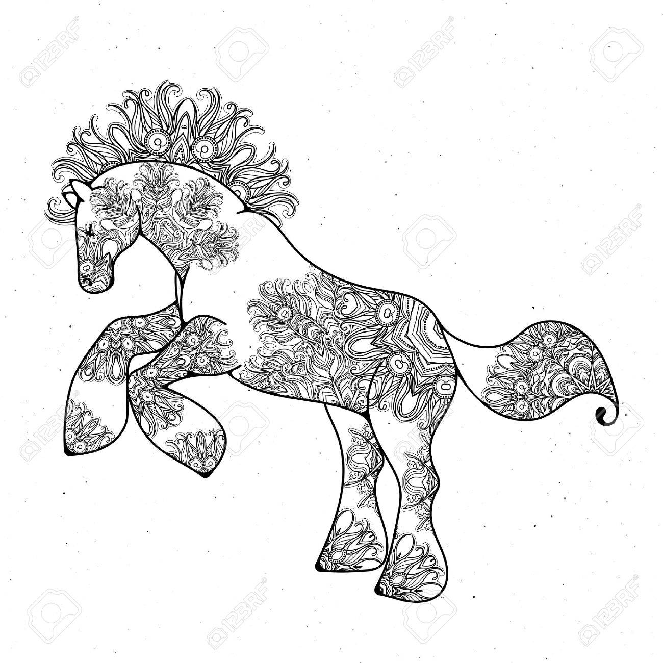 Coloriage Cheval Pur Sang.Antistress Lineaire Page Avec Cheval Zentangle Animal Pour Cahier