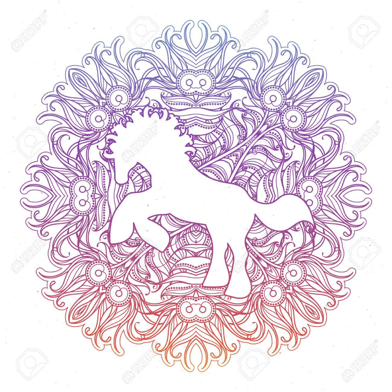Antistress Lineare Seite Mit Pferd. Zentangle Tier Für Malbuch ...