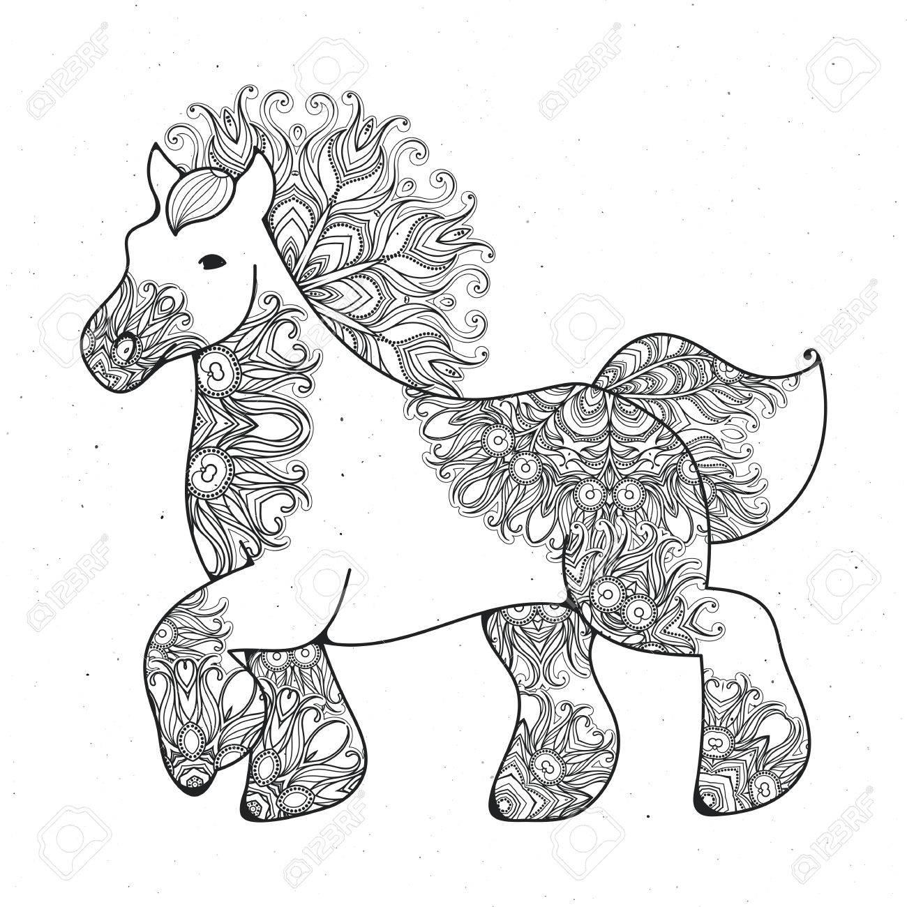 Coloriage Cheval Zen.Antistress Lineaire Page Avec Cheval Zentangle Animal Pour Cahier De Coloriage Carte De Voeux Element De Decoration De Mandala Art Therapie