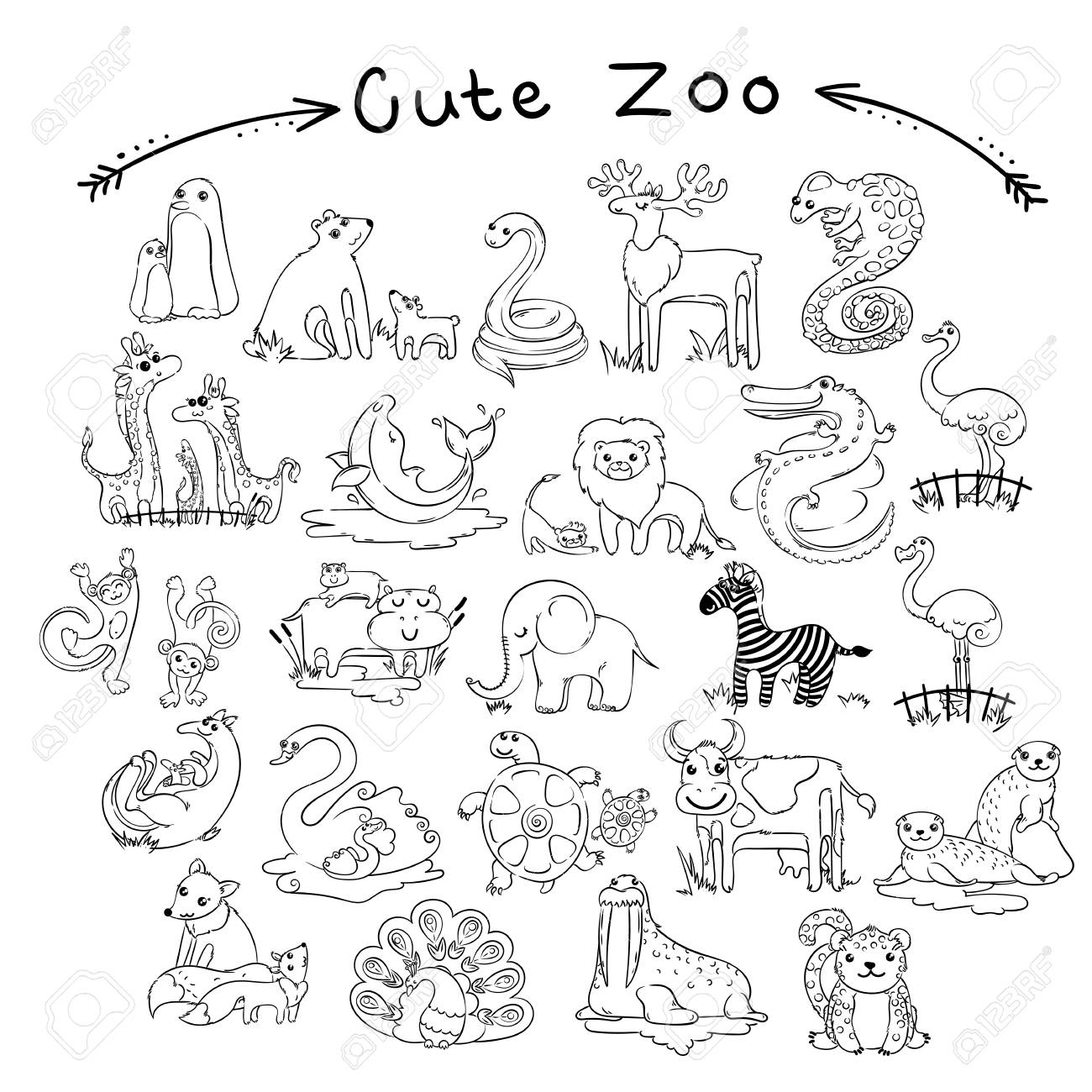 Collection Of Cute Cartoon Doodle Animals And Birds Of The World