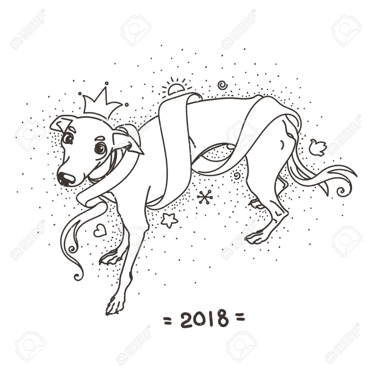 Yellow dog for new year 2018 cute symbol of horoscope cute yellow dog for new year 2018 cute symbol of horoscope cute and pretty italian biocorpaavc Choice Image