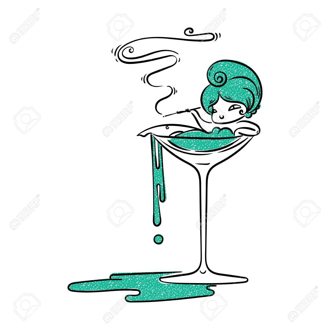 Cigarette Caricature fille belle caricature en verre martini avec cigarette. fumée de