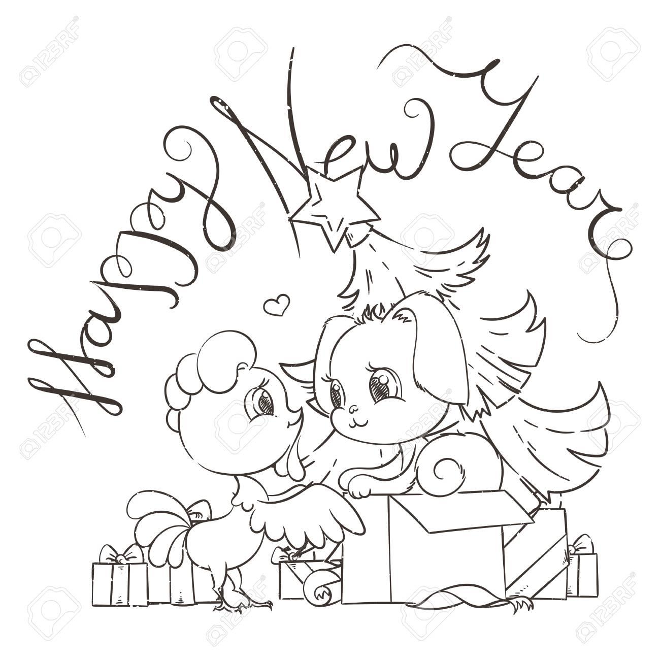 Tarjeta De Divertidos Dibujos Animados Con Perro Y Gallo Símbolos De 2017 Y 2018 Feliz Año Nuevo Ilustración Vectorial Con Amigos Humanos Lindos