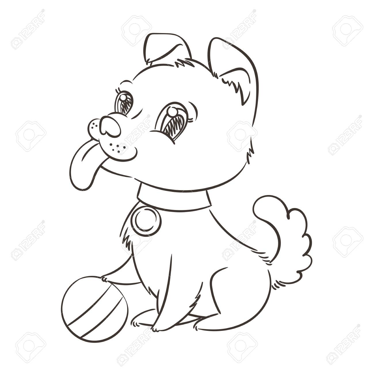 Chiot De Dessin Anime Dore Heureux Mignon Petit Chien Portant Un Collier Illustration Vectorielle Clip Art Libres De Droits Vecteurs Et Illustration Image 90748779