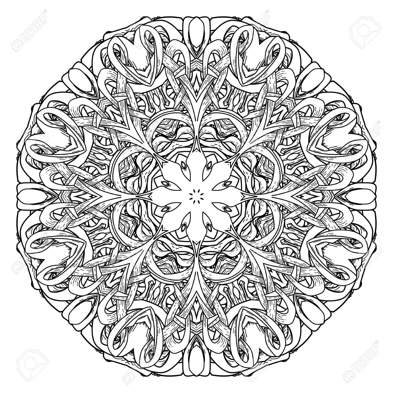 Mandala Con Intrincado Diseño Para Colorear Libro Ilustraciones ...