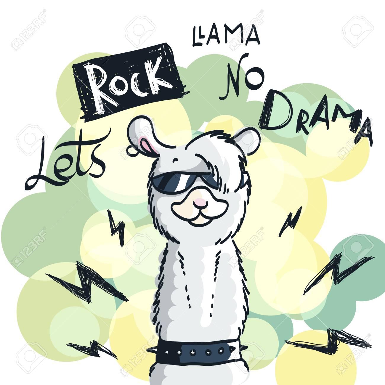 Linda Tarjeta Con Dibujos Animados De Llama Cita Motivacional E Inspiradora Ilustración Garabatos Vamos Rock Sin Drama Llama