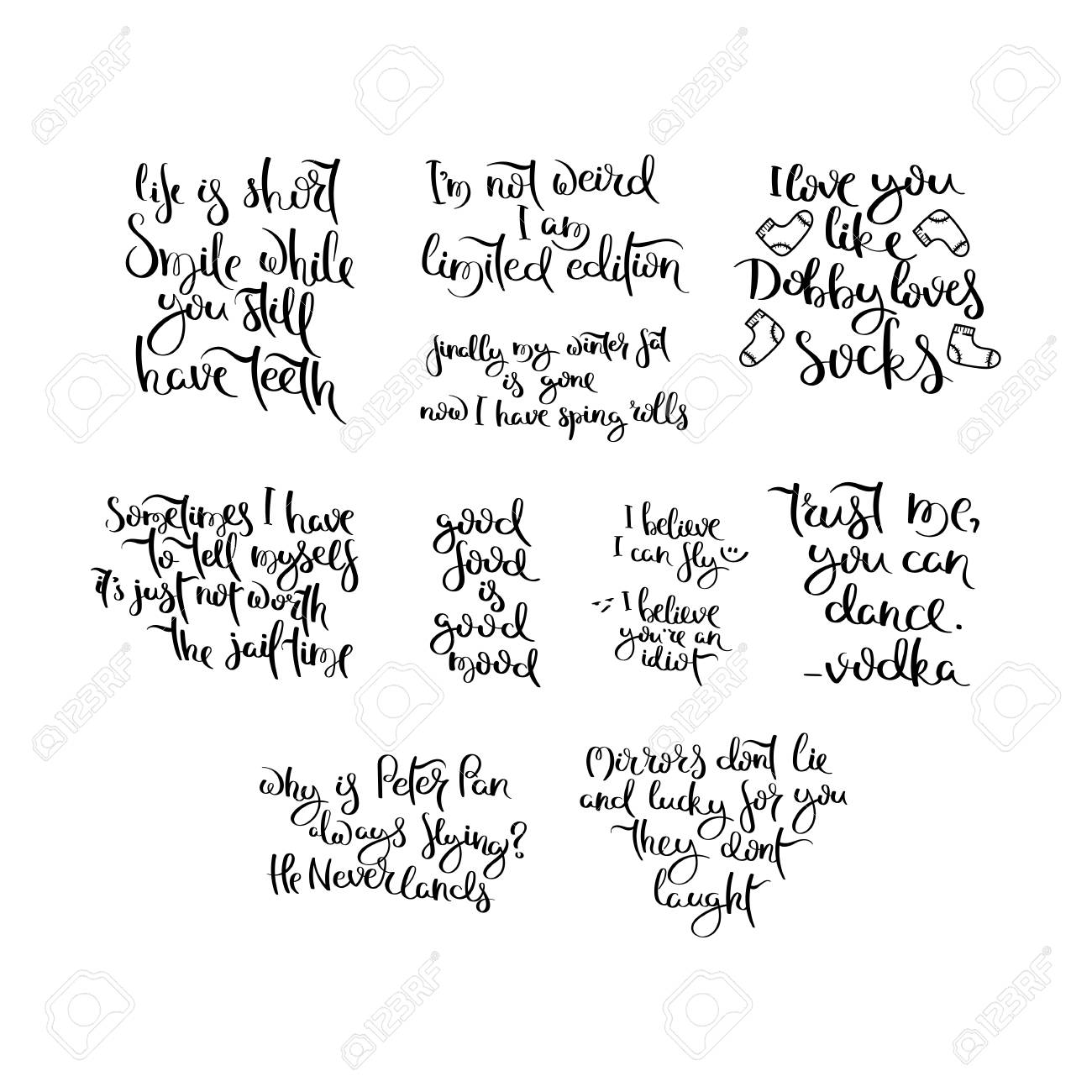 Collection Of Hand Written Calligraphy Funny Quotes Motivation