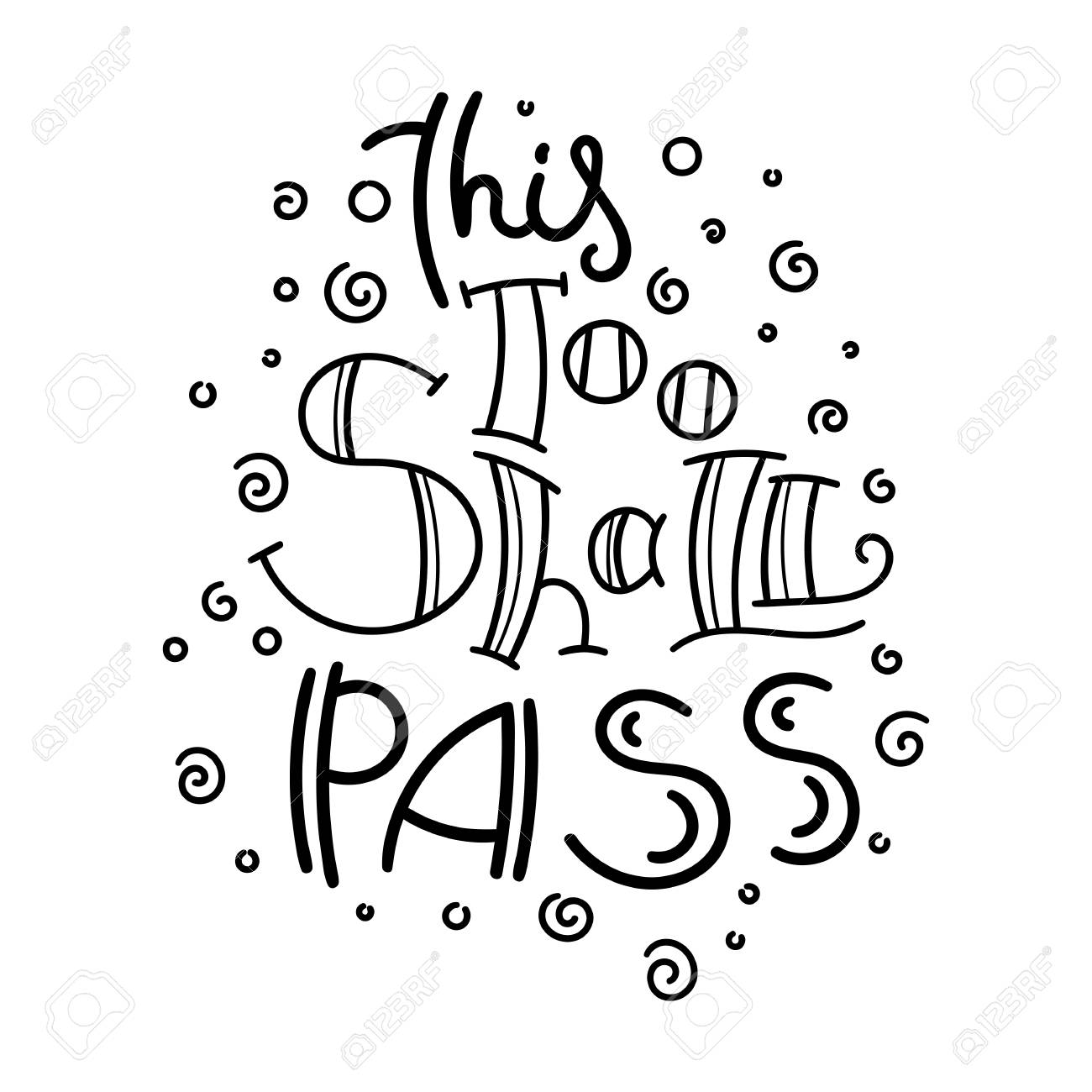 This too shall pass. Hand drawn modern image with hand-lettering..