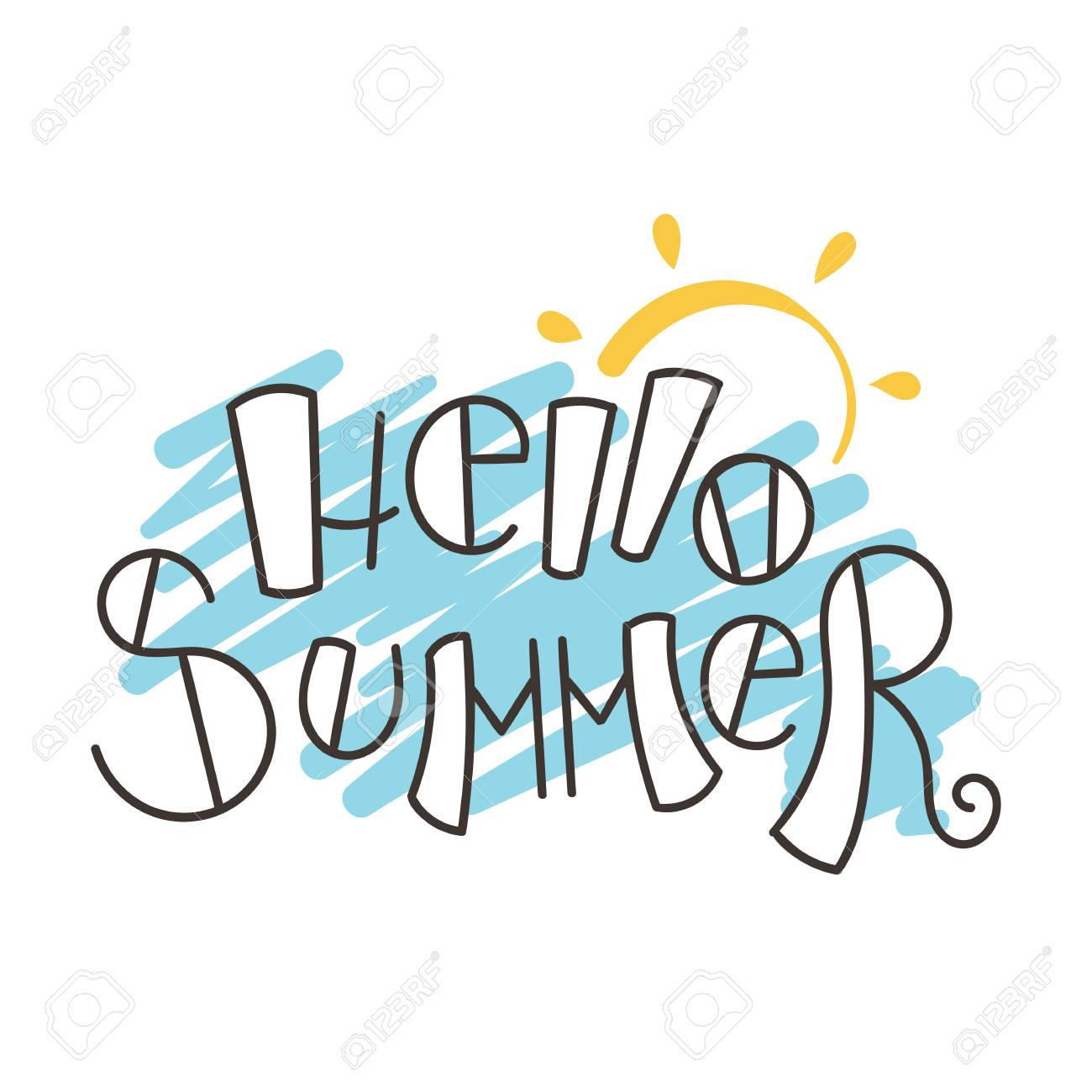 hello summer vector illustration ink background hand lettering rh 123rf com summer vector files summer vector background