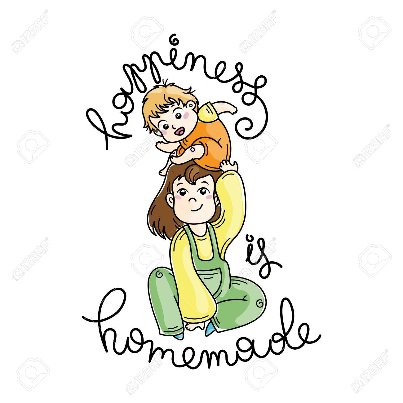 Happiness is homemade quote with Cute cartoon mother and son..