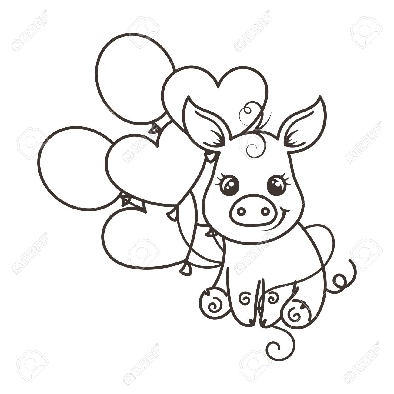 greeting card with cute cartoon pig with balloons coloring page