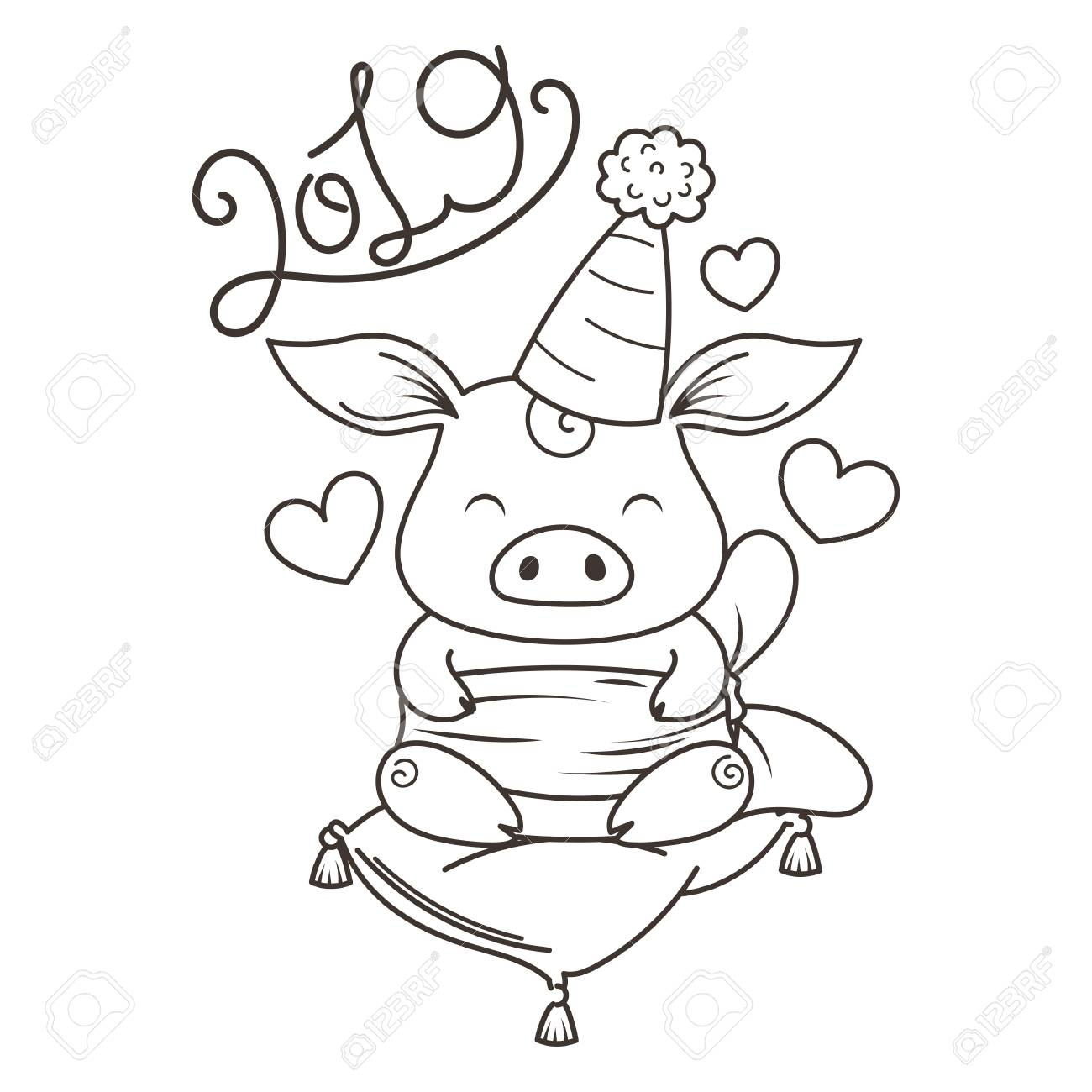 Cute Cartoon Pig In Love Symbol Of New 2019 Year Chinese Horoscope