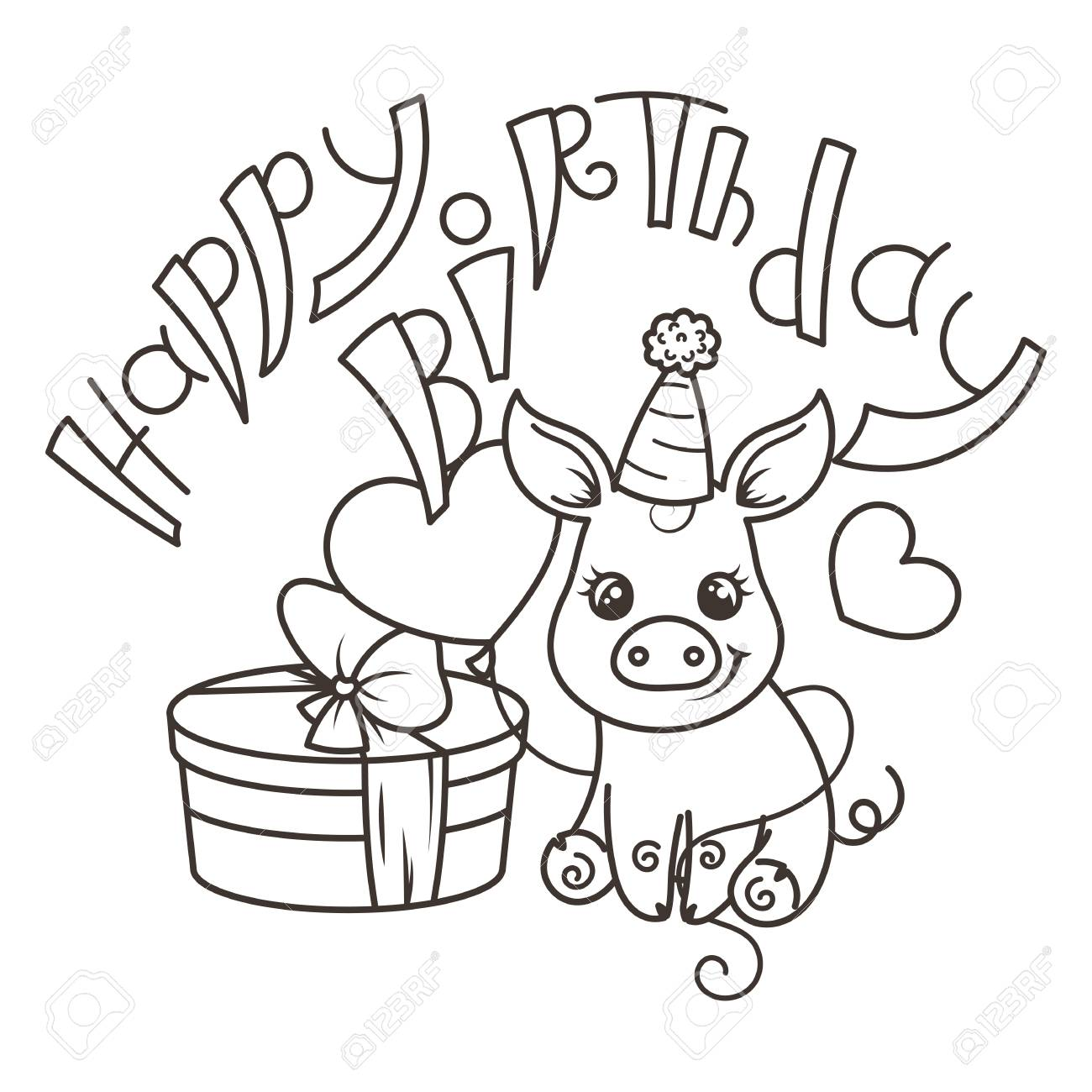 Happy Birthday Cute Cartoon Baby Pig With Holiday Box Vector Royalty Free Cliparts Vectors And Stock Illustration Image 103381653