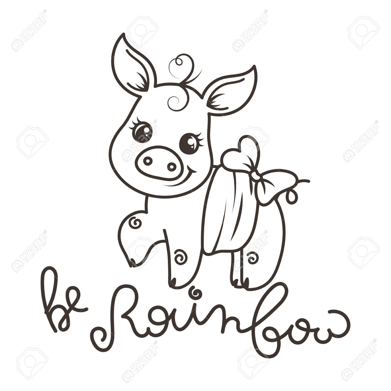 Be rainbow. Greeting card with cute cartoon pig, coloring page