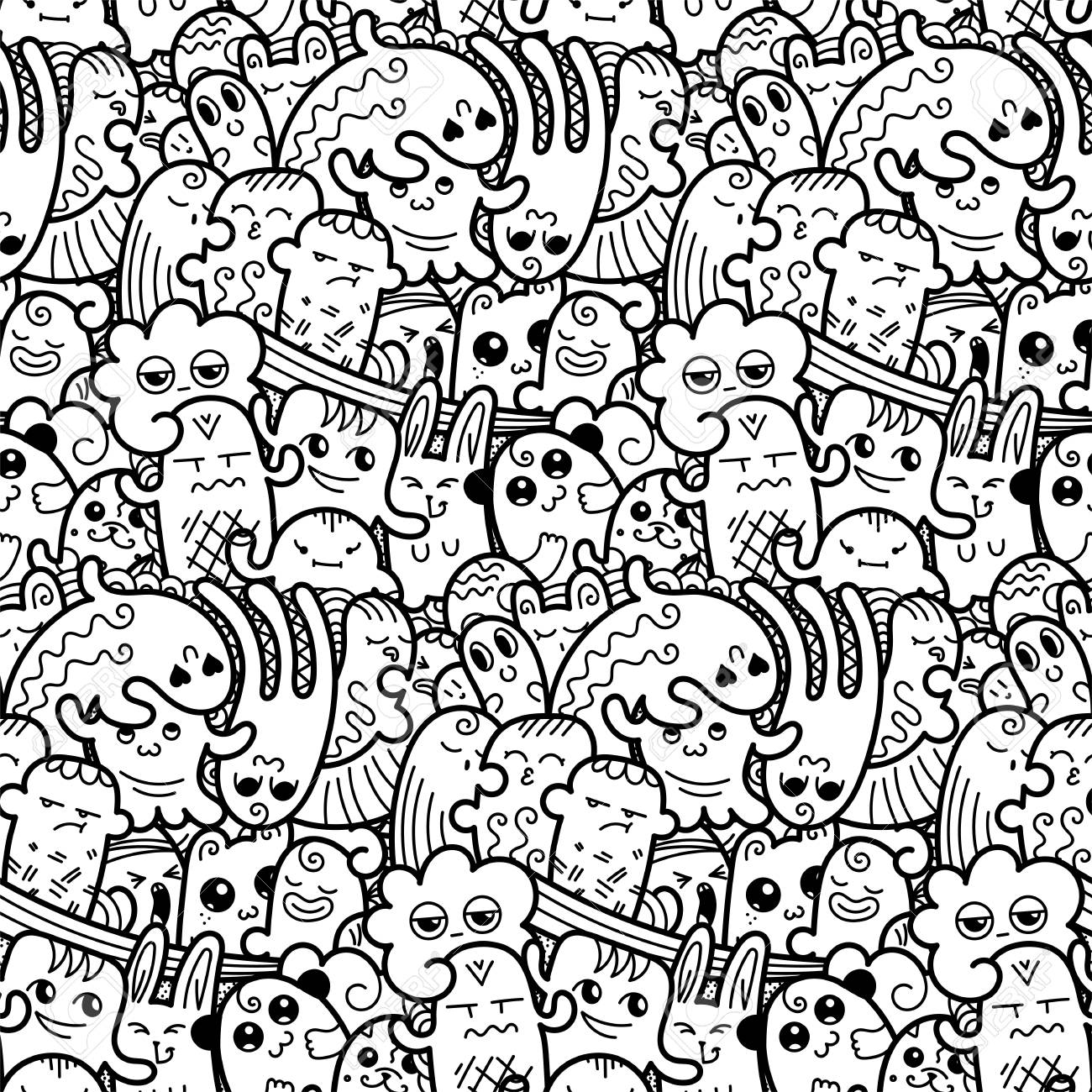 Funny doodle monsters seamless pattern for prints, designs and coloring books. Vector illustration - 111003131