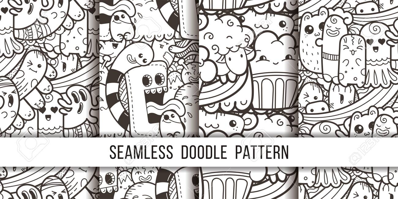 Collection Of Funny Doodle Monsters Seamless Pattern For Prints ...